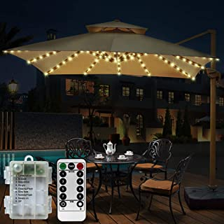 Windnpnn Patio Umbrella Lights, 104 LED with Remote Control Timer Battery Operated String Lights 8 Lighting Mode Waterproof Outdoor Garden Umbrella Lights (Warm White)