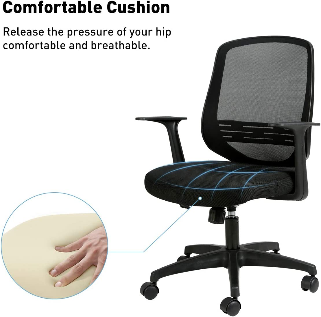 Black Hbada Home Desk Chair Mesh Office Chair with Arms and Adjustable Height