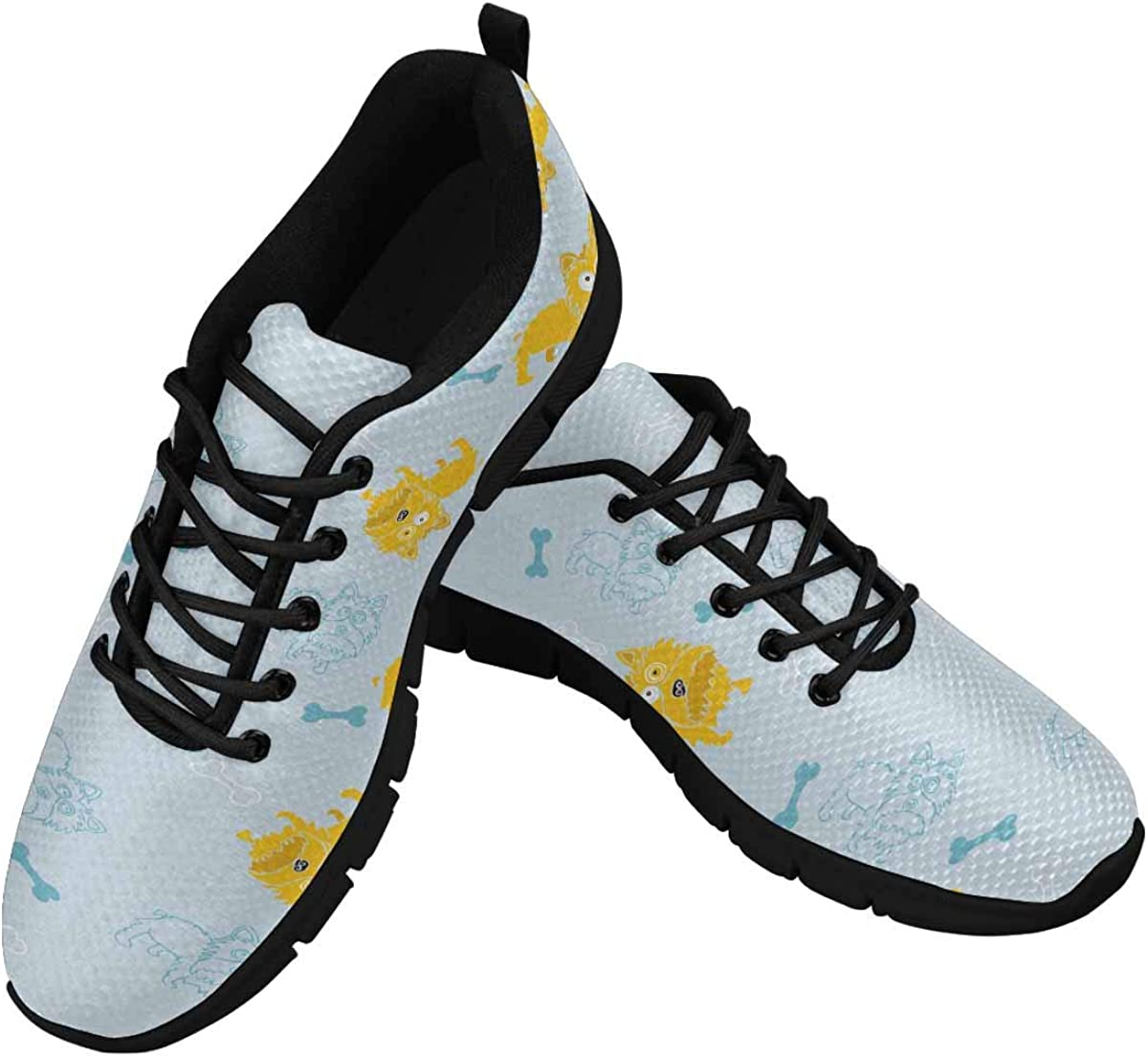 INTERESTPRINT Yorkshire Dog and Bones Lightweight Mesh Breathable Sneakers for Women
