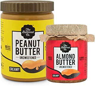 The Butternut Co. 1 Kg Creamy Unsweetened Peanut Butter & 200 gm Unsweetened Almond Butter - 1.2 Kg Combo Value Pack