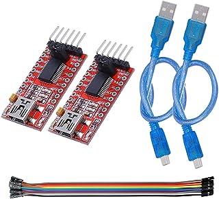 KeeYees FTDI FT232RL USB-TTLシリアル変換アダプターモジュール 5V/3.3V切り替え 2個入り 専用USBケーブル付き 2本入 ジャンパーワイヤ付き メス-メス 10ピン