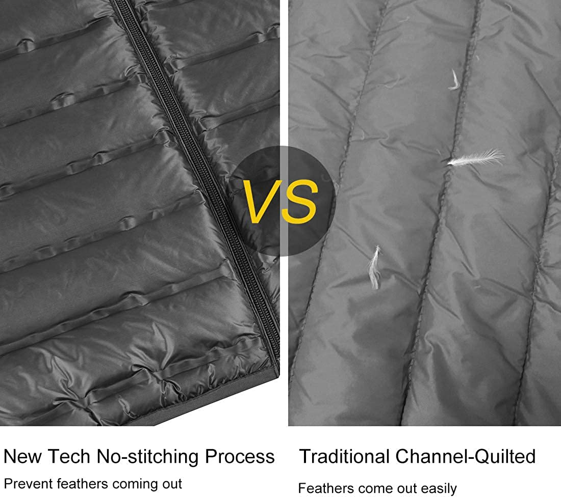 Lesmart Mens Lightweight Puffer Down Jacket Packable Quilted Feather Fill Winter Warm Coat