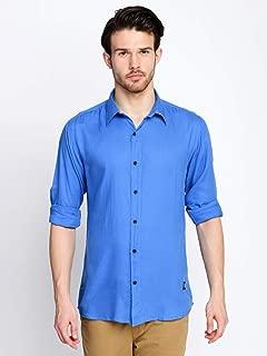 ODCC Men's Slim Fit Cotton Viscose Royal Blue Plain Shirt