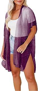 Women Bikinis & Cardigan QUINTRA F Hight Waist Halter Bikini Set Two Piece Swimsuit & Printed Chiffon Blouse Loose Tops Ca...