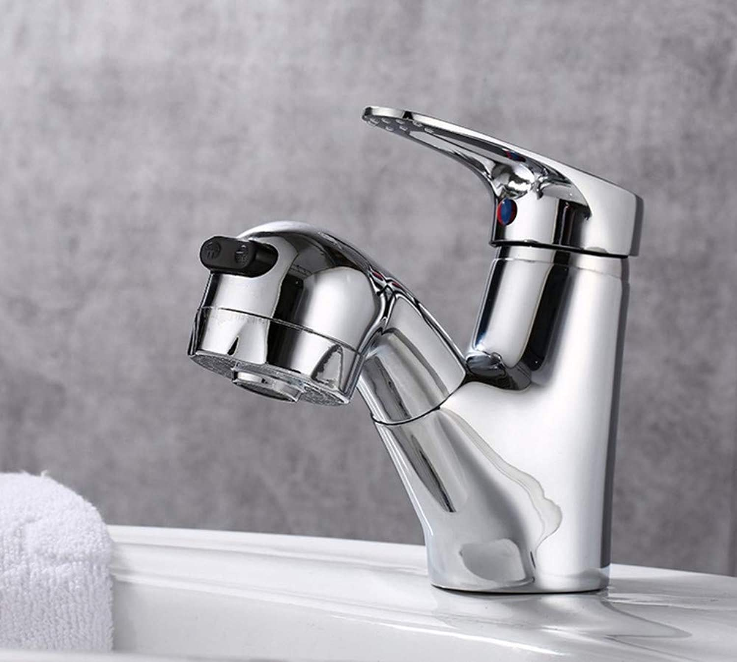 redOOY Pullable telescopic faucet sink hot and cold basin full copper lifting shampoo single hole bathroom faucet