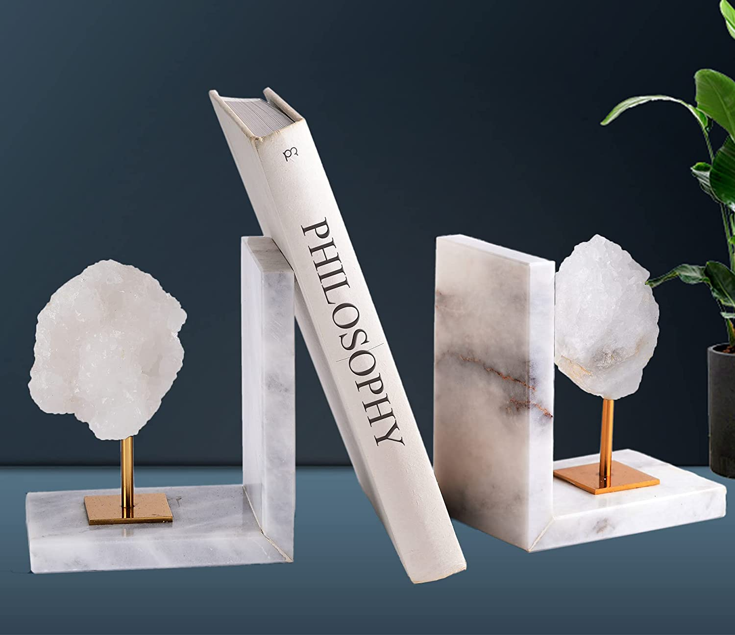AMOYSTONE Geode Bookends Decorative White Max Large special price !! 72% OFF Agate He Ends Book for
