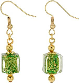 Murano Glass Antico Tesoro Cubes Earrings - Apple Green