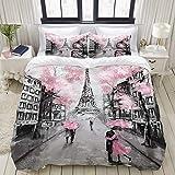 MOBEITI Bettwäsche-Set,Ölgemälde Paris Europäische Stadt Landschaft Frankreich Eiffelturm Schwarz Weiß,Dekoratives 3-teiliges Bettwäscheset mit 2 Kissenbezügen,King Size(200 x 200cm)