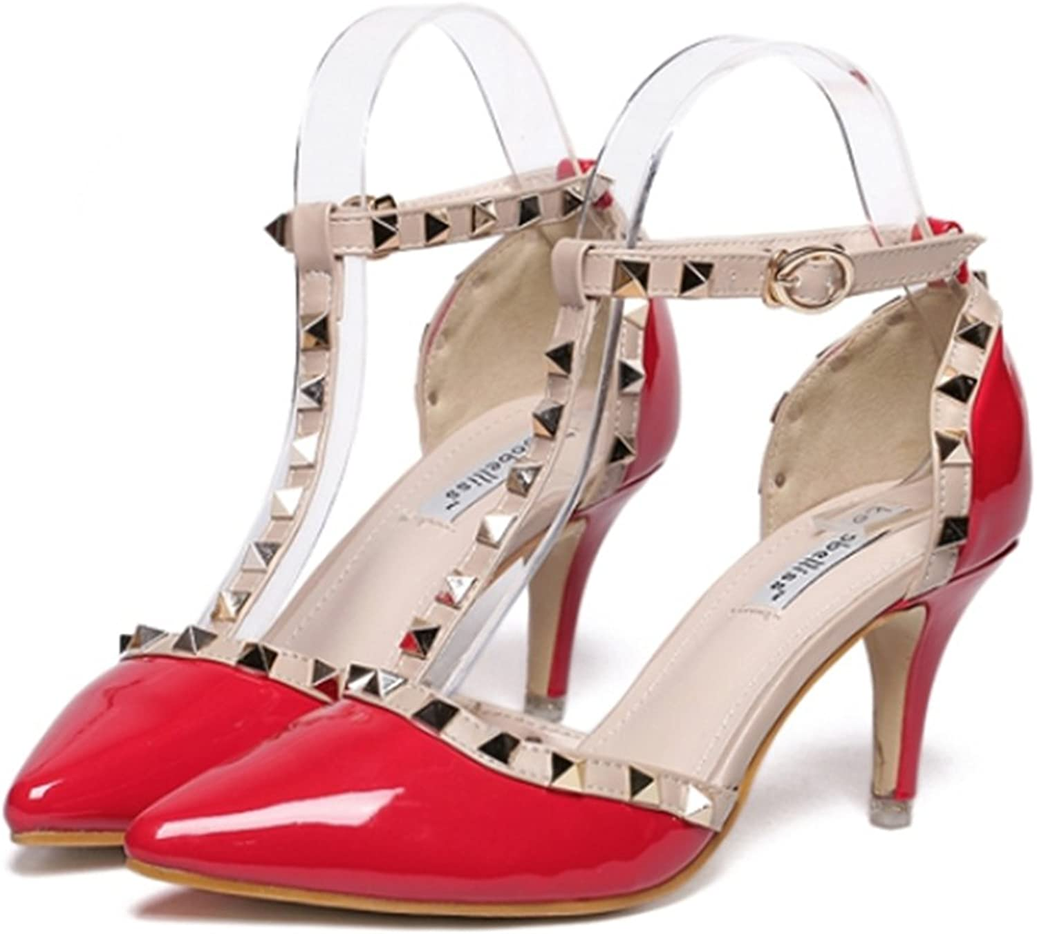 Rivet Thin High Heel shoes Pointed Middle Heel All-match Sandals red 39