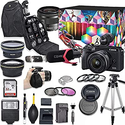 Canon EOS M6 Mark II Mirrorless Digital Camera with 15-45mm Lens, EVF-DC2 Viewfinder Kit (Black) + Wide Angle Lens + 2X Telephoto Lens + Flash + SanDisk 32GB SD Memory Card + Accessory Bundle from Canon
