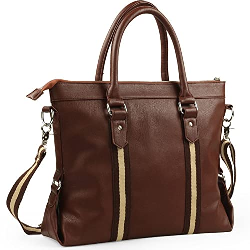 BLOOMSTAR Fashion PU Leather Business Laptop Cross Body Shoulder Messenger  Bag Satchel Tote Handbag (Brown