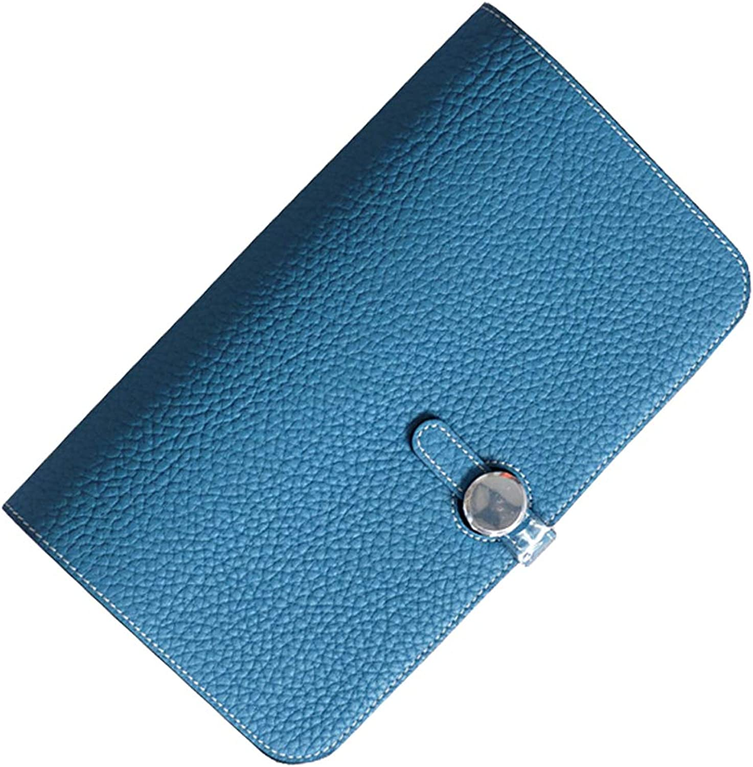 FblueE Women's Leather Passport Case Car Holder Thin Wallet Check Wallet FB011 (bluee)