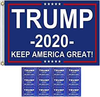 DK177 Trump 2020 Flag Keep America Great Again 3 X 5 Ft Blue Truck and Cars Outdoor Display Banner Sign Boat Flags with 32...