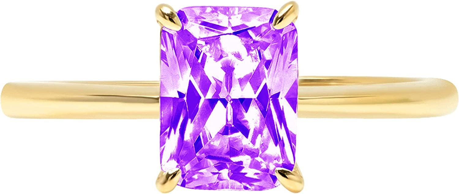 2.5ct Brilliant Radiant Cut Solitaire Natural Purple Amethyst Gem Stone Ideal VVS1 4-Prong Engagement Wedding Bridal Promise Anniversary Ring Solid Real 14k Yellow Gold for Women