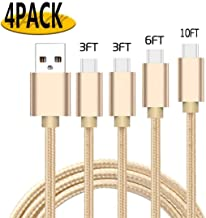USB Type C Cable, 4-Pack(3ft+3ft+6ft+10ft) USB-C to USB A 2.0 Fast Charger Nylon Braided Cord Compatible Samsung Galaxy S10 S9 S8 Plus Note 9 8,Moto Z,LG V20 G6 G5, Switch and More