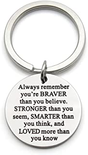 Always Remember You are Braver Stronger Smarter Than You Think Stainless Steel Inspirational Pendant Keychain Key Ring