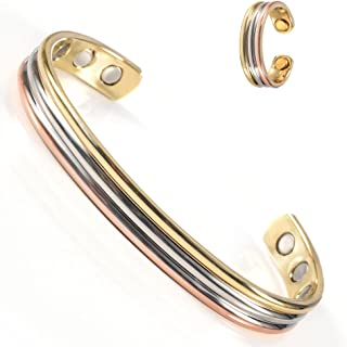 Wollet Copper Bracelet&Copper Ring Anti Arthritis Rheumatism Cuff Bangle Women Health Copper Bracelet Magnetic Bracelet fo...