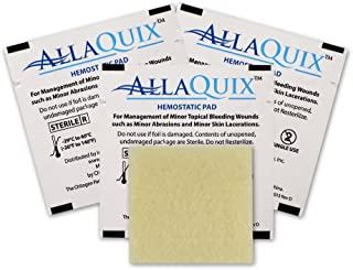 AllaQuix (Pack of 3) Stop Bleeding Pad (Large 2-inch Square) Professional-Grade First-Aid Hemostatic Gauze (Blood Clotting Bandage)