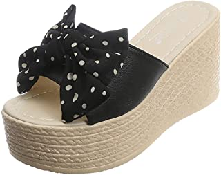 2019 EDC Women's Summer Polka Dot Printed Bow Knot Flats Wedges Slippers Open Toe Thick Heel Sandal Shoes