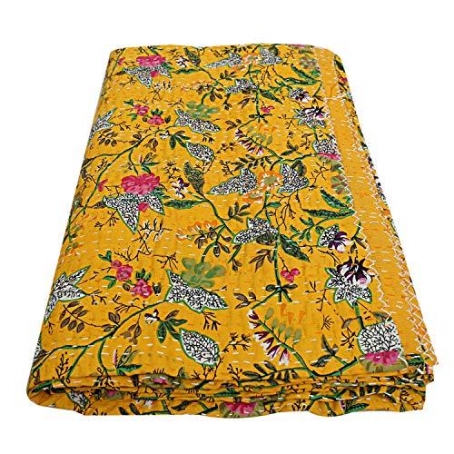 Charoli Enterprises - Edredón Indio con Estampado Floral Hippie, de algodón Acolchado a Mano, tamaño Queen, Estilo Bohemio