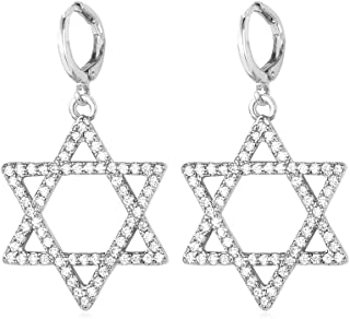 U7 Crystal Star of David Necklace Platinum 18K Gold Plated Link Chain AAA Cubic Zirconia Iced Out Magen David Star Pendant/Charm Bracelet/Earrings
