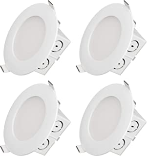 TORCHSTAR 9W 4 Inch Slim Recessed Ceiling Light with Junction Box, 65W Eqv. Dimmable Airtight Downlight, UL & Energy Star Certified, 650lm, 3000K Warm White, Pack of 4