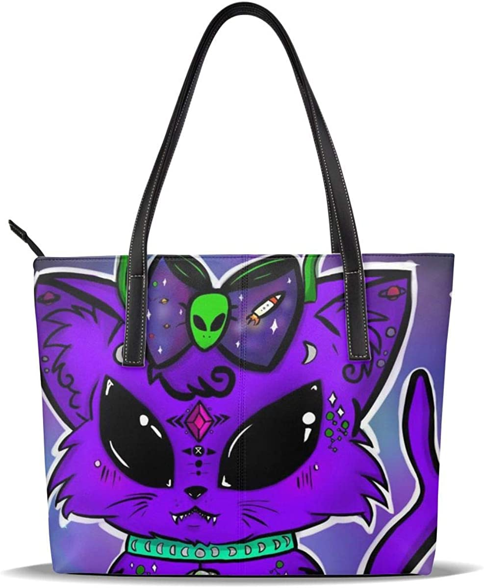 Reservation Cat Alien Purple Art Green PU Printed Large-scale sale Casual Han Leather Pattern