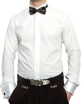 Designer Smoking Camisa Blanco con Negro Pajarita Camisa De Hombre Gemelos con Smoking Cuello libre de planchar sobre manguito manga larga