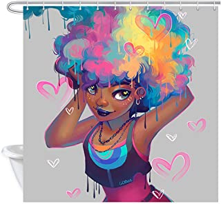 NYMB African Women Shower Curtain Set, Colorful Cartoon Afro Hair Girl with Heart Print, American Girl Decor Fabric Shower Curtain for Bathroom, Waterproof Bath Accessories, 12PCS Hooks, 69X70in