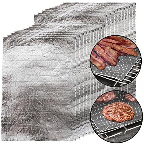 SPARES2GO Grill Pan & Oven lade beschermend vet & vet absorberende folie pads (Pack van 20)