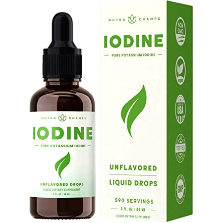 Iodine Drops (1-2 Year Supply) Vegan Nascent Liquid Iodine Supplement Solution - Supports Thyroid Health, Hormones & Weight - Tasteless, Higher Absorption Than Tablets - Iodine Tincture 590 Servings