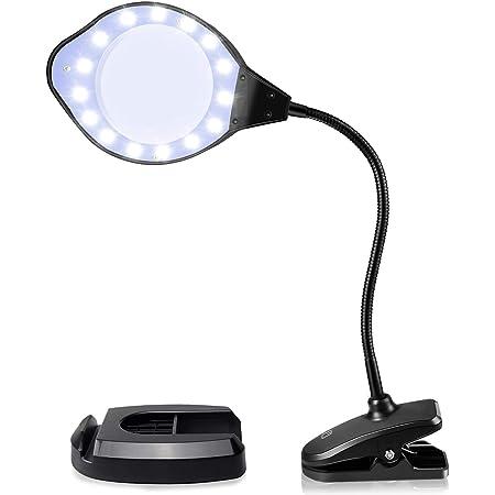 拡大鏡 ルーペ Artilee スタンドルーペ 虫眼鏡 LEDライト付き 2倍-4倍レンズ 調光3段階 置き型 クリップ対応 (ブラック)