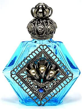 Gabriella's Gifts Czech Decorative Jeweled Light Blue Perfume Oil Bottle Holder
