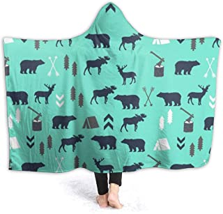 Hoodie Blanket for Adults Men Women Kids, Super Warm Extra Soft Throw Wrap Cover for Bed Couch Sofa, Mint Grey Navy Blue Bear Moose Forest Arrow Pattern Oversized Wearable Throw Camping Blankets