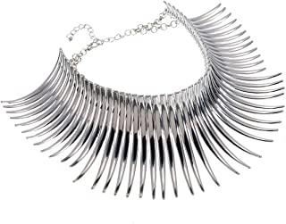 Statement Collar Choker Chuncky Bib Necklace(Set), African Sparkling Canine Shape Fringe Necklace(Set) for Women Fashion Jewelry(Set) for Girls
