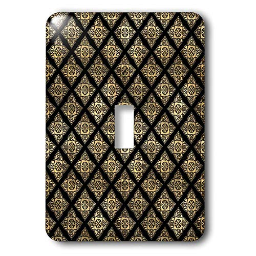 3dRose Contemporary Black and Image Of Gold Celtic Star Knots. - Light Switch Covers (lsp_342854_1)