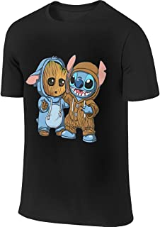 BTVE Sleeky Stitch and Groot Cool Travel Black T-Shirt