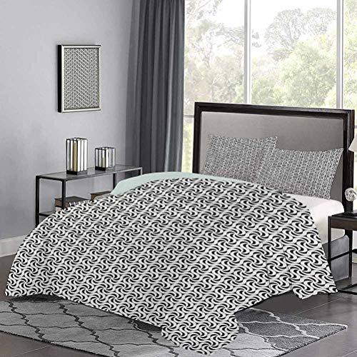 Juego de funda de edredón monocromática abstracta vórtices en patrón hexagonal hilado, obras de arte surrealista, moderno, ligero, suave, cómodo, negro, blanco, tamaño doble