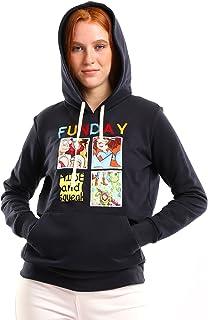 "Andora""Fun Day"" Printed Slip-on Hoodie For Women- Navy Blue-XL"