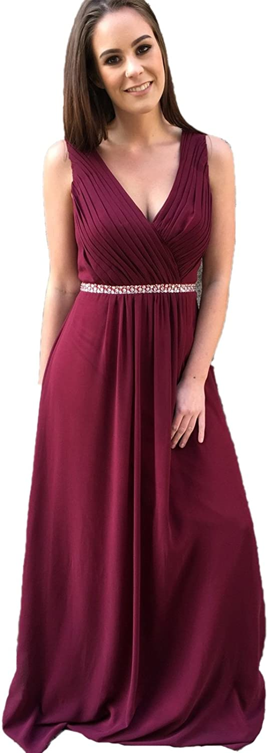 XingMeng VNeck Pleated Prom Dresses Long Bridesmaid Dress for Women