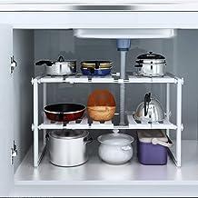 Kurtzy Extendable Under Sink Tawa Rack Shelf Storage Organizer Holder for Home Kitchen and Bathroom