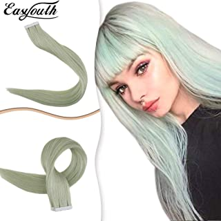 Easyouth Remy Tape in Human Hair Extensions 22Inch 25g 10Pcs/set Fashion Color #Emerald Tape in Real Hair Extensions Tape on Hair Extensions