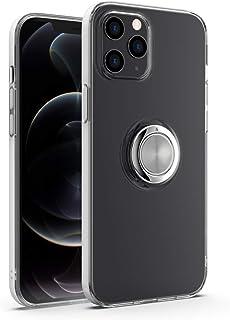 iPhone12 Pro Max ケース 6.7インチ 対応 リング 透明 TPU クリア 磁気カーマウントホルダー 耐衝撃 ストラップホール (iPhone12 Pro Max)