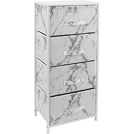 Sorbus Nightstand with 4 Drawers - Bedside Furniture & Night Stand End Table Dresser for Home, Bedroom Accessories, Office, College Dorm, Steel Frame, Wood Top (4-Drawer, Marble White – White Frame)