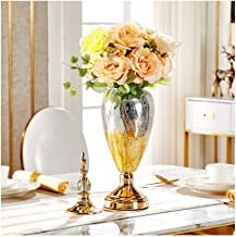Flower Bottle Transparent Glass Vase Decoration Home Wedding Decoration Metal Base with Dried Flowers (51 * 15cm)