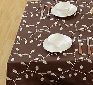 (150 سم × 270 سم، قهوة) - غطاء طاولة مزين برسمة أوراق شجر من القطن الكتاني لتناول العشاء وقهوة، 150 سم × 270 سم
