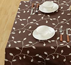(150cm x 230cm , Coffee) - Tina Cotton Linen Tablecloth Leaf Embroidered Table Cover for Dinner Kitchen Coffee, 150cm x 230cm