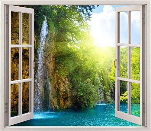 Stickersnews 5452 - Adesivo trompe l'oeil per finestre, soggetto: finestra con cascata, 120x105cm