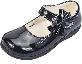 Infant Girls Frozen Black Patent Lights School Shoes Strap Fastening Fluer