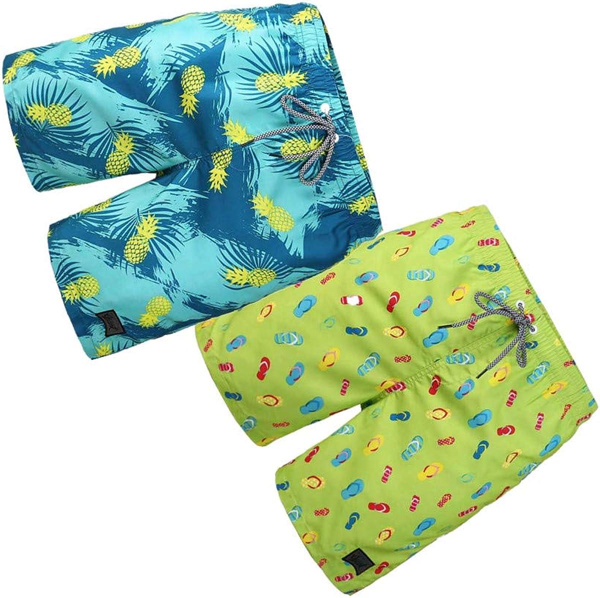 BG 2-Pcs Pack Men's Vintage Rash Guard Jamaica Floral Print Vintage Striped Texture Swim Wear